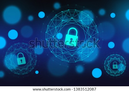 Access control and cyber security concept. Padlocks and locks on virtual digital screen. Data and information protection protocol. Secure connection. GDRP
