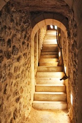 access stairs to a cave
