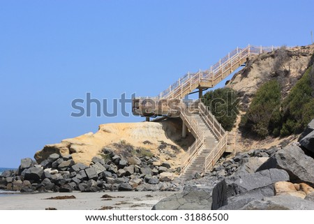 Access Stairs to Public Beach at Del Mar Cliffs, San Diego, CA