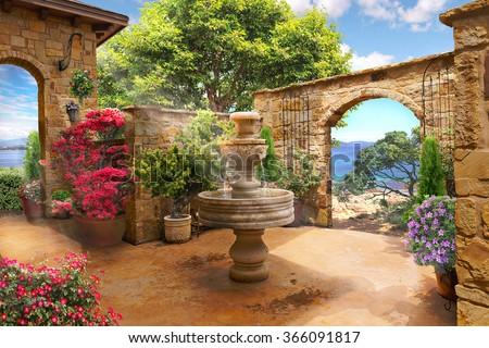 stock photo access to the sea 366091817 - Каталог — Фотообои «Балконы, арки»