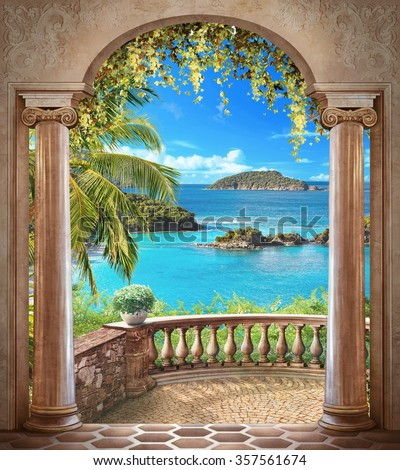stock photo access to the sea through the arch 357561674 - Каталог — Фотообои «Балконы, арки»