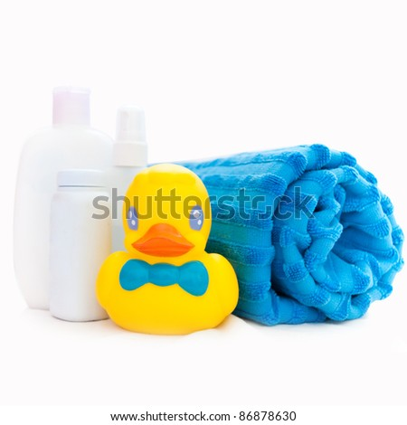 accessories for baby bath - stock photo