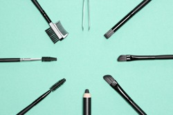 Accessories for care of brows. Eyebrow grooming tools. Free space in the center