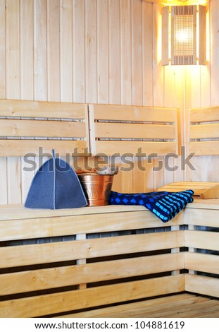 accessories for sauna located on the bench