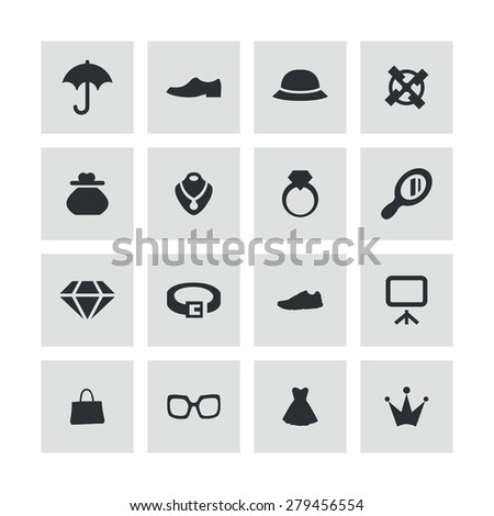 accessories icons universal set for web and mobile