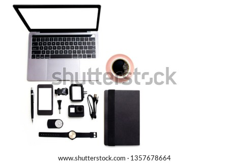 Accessories Video camera of Desk top digital technology laptop computer ,Mobile phone blank white mockup screen on white table. Copy space for your text #1357678664