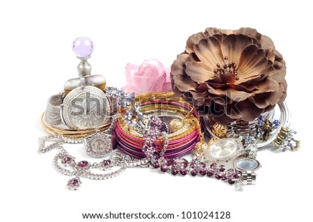 Accessory and swiss watch  with jewelry  , over white