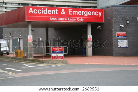 Accident and Emergency entrance at hospital