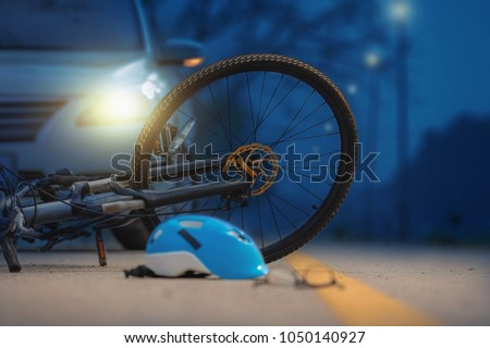 Accident car crash with bicycle on road #1050140927