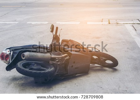 Accident motorcycle on the road #728709808