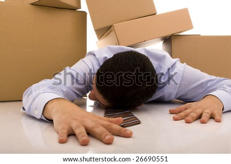 accident with some businessman carrying a pile of cardboard boxes