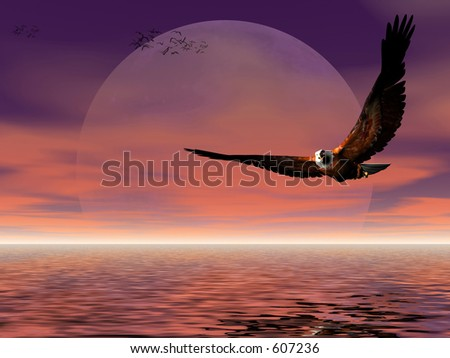 Accipitridae, the american bald eagle flying over the ocean, moonrise, puffy clouds and seagulls in the background, room provided for copyspace.  3D render.