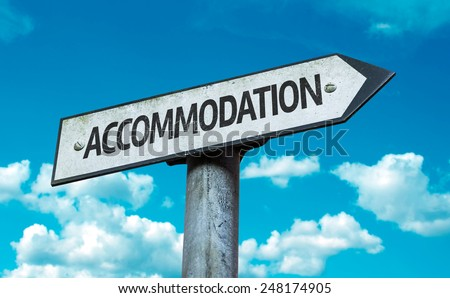 accommodation sign with sky...