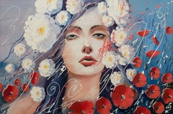 According to legend, red poppies emerged from the tears of Venus. Original oil painting