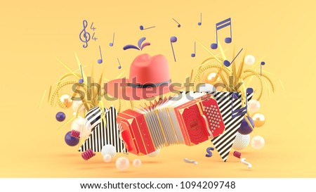 Accordion and a cowboy hat among the notes and colorful balls on the orange background.-3d render.
