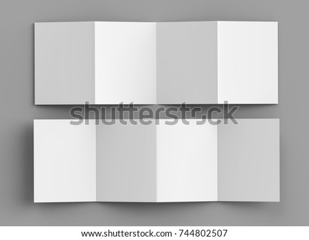 Accordion fold brochure, eight pages four panel leaflet, concertina fold. blank white 3d render illustration.