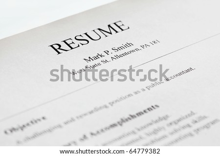 Account manager resume form title page, close-up. Shallow DOF. - stock photo