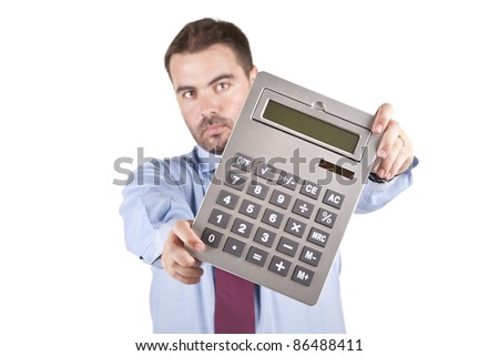 Accountant business man with a big calculator over white background