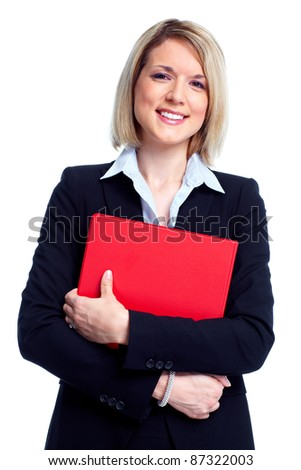 Accountant business woman with folder. Isolated over white background.