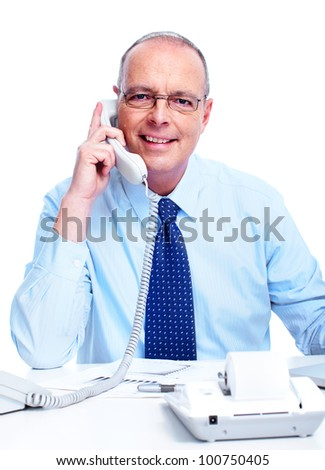 Accountant businessman calling by phone. Isolated on white background.