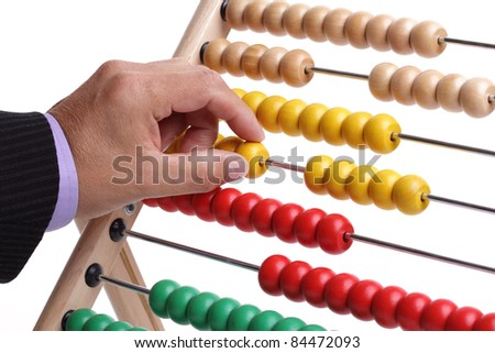 Accountant or businessman counting on an abacus concept for calculating finance