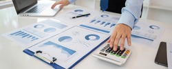 accountant reviewing data in financial statement. Accounting Business, Accountancy, Bookkeeping Concept.