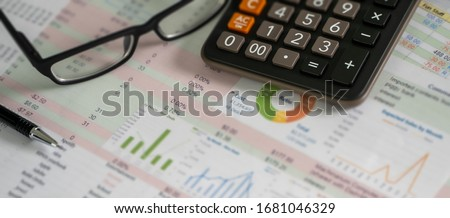 Accounting analysis businessman hand working Strategy Research analyzing financial data and charts ストックフォト ©