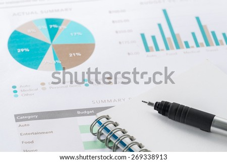 accounting business and financial report with pen .Document is mock up