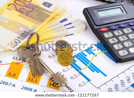 accounting. business deal with key and money - stock photo
