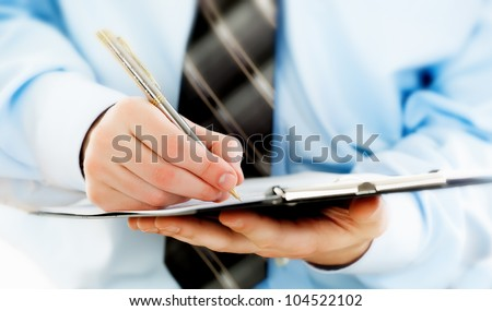 Accounting.Business records in the men's hands