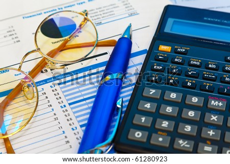 Accounting concept. Shallow DOF