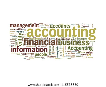 Accounting related word info-text graphics and arrangement concept on white background (word cloud)