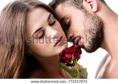 acctractive sensual couple with rose isolated on white #773317873