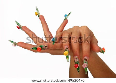 Accurate Nails Dangerous Gel Gentle Hands Woman Manicure Stock Photo