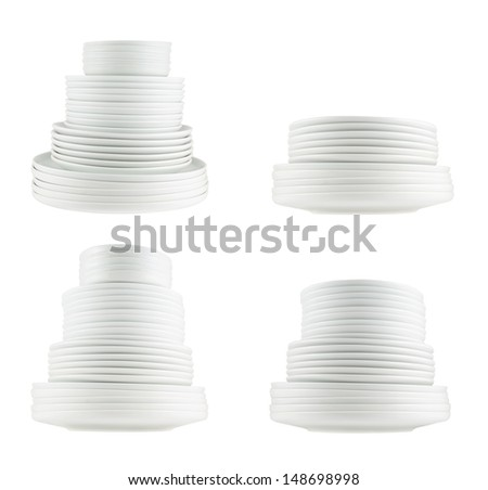 Accurate pile stack of the round ceramic white dish plates isolated over white background, side view, set of four