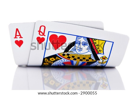 Ace and Queen hand on white