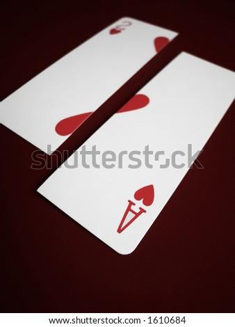 As y dos de tarjetas de los corazones partidas aparte