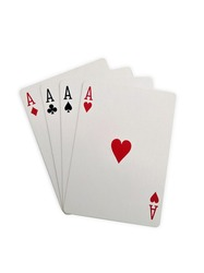 Ace cards, poker, isolated on white background