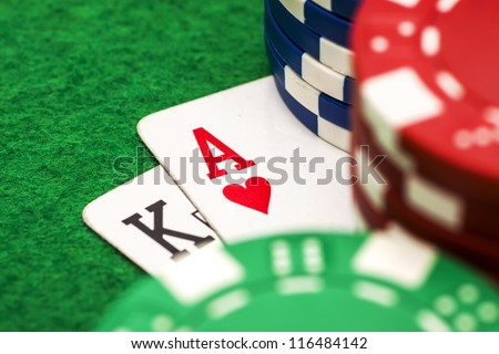 Ace king and poker chips stack