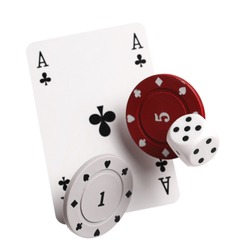 Ace of clubs playing card, poker chips and die for gambling and casinos, isolated on white background with clipping path