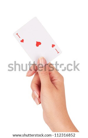 Ace of hearts in hand on a white