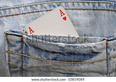 Ace of hearts in pocket - hide trump illustration