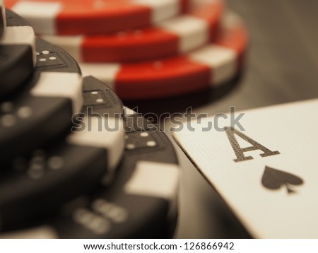 ACE OF SPADES AND POKER CHIPS
