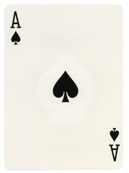 Ace of spades playing card, isolated on white background.