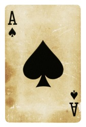 Ace of Spades Vintage playing card isolated on white (clipping path included)