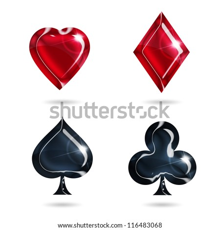aces of hearts, diamonds, spades, clubs on white background