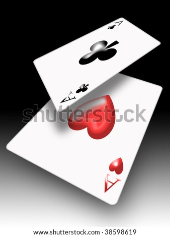aces poker falling on the table game
