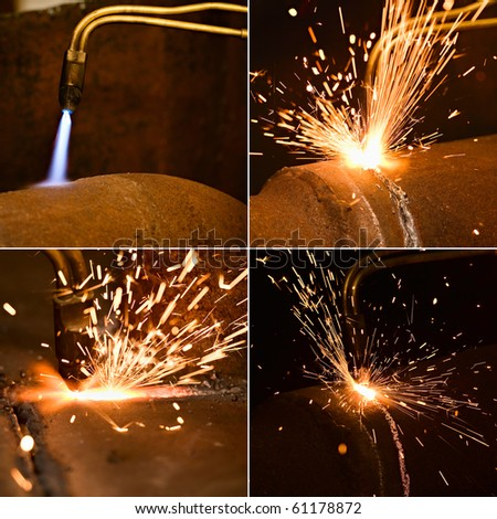 Acetylene torch and sparks during gas welding