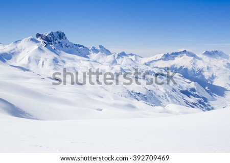 Acher castle mountain in winter, covered of snow