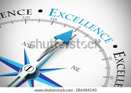 Achieve Business Excellence as concept on a compass (3D Rendering)